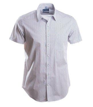 slim fit hemd met subtiel blauw motief
