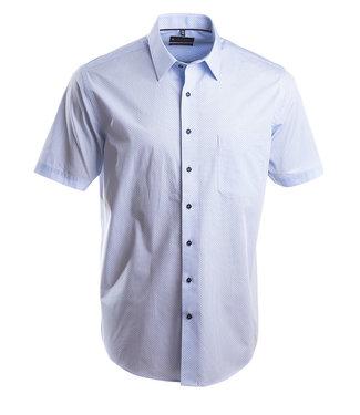 wit hemd met subtiel lichtblauw dessin