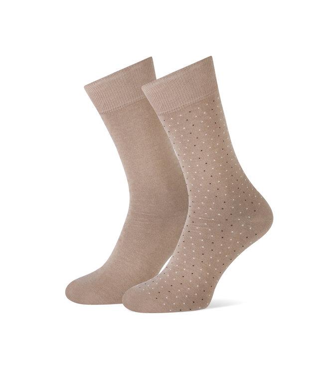 duopack sokken camel met stipjes
