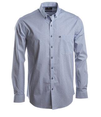 wit hemd met navy geometrische print