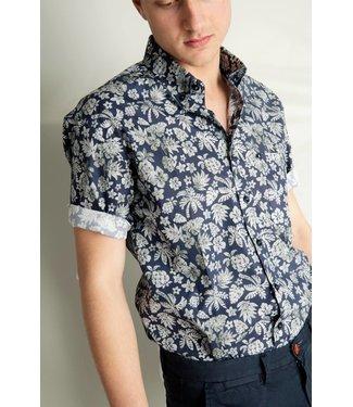 FORMEN blauw hemd met botanical dessin