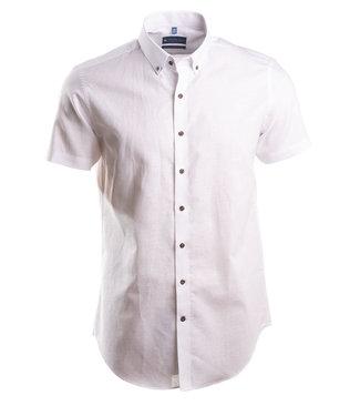 slim fit hemd in lichte mix van linnen en katoen