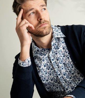 FORMEN knap hemd met navy bloemenprint