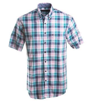 kleurig geruit hemd met korte mouwen