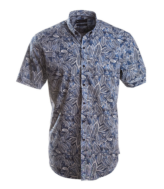 tof hemd met donkerblauwe jungle print