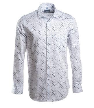 wit slim fit hemd met blauw motief