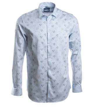 lichtblauw hemd met apart dessin, slim fit