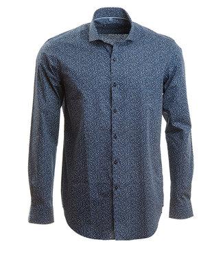 slim fit hemd met all over print in blauwtinten