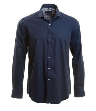 donkerblauw hemd met microstructuur
