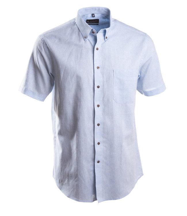 lichtblauw linnen hemd met korte mouwen