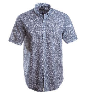 blauw linnen hemd met toffe print