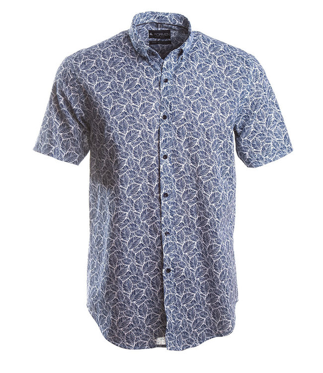 blauw linnen hemd met hawai print