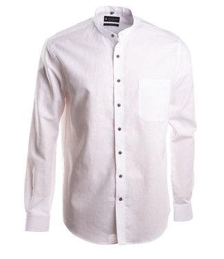 wit linnen hemd met Mao kraagje