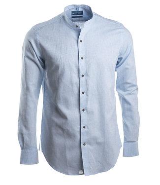 lichtblauw linnen hemd met Mao kraagje, slim fit