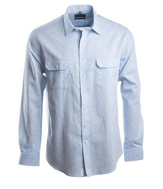 lichtblauw linnen hemd met 2 borstzakken