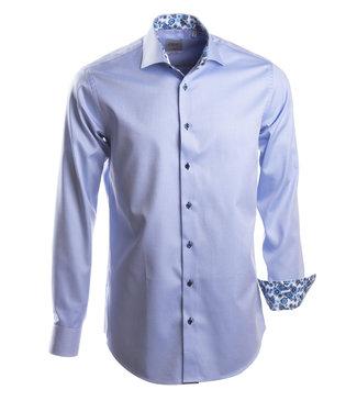luxueus blauw hemd met Italiaanse kraag, slim fit