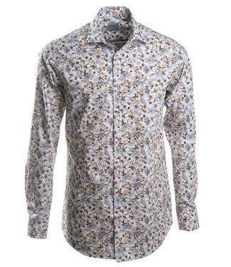 slim fit hemd met mooi dessin in zachte tinten