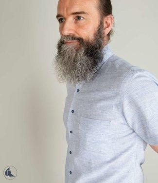 jeansblauw hemd, mix linnen en katoen, slim fit
