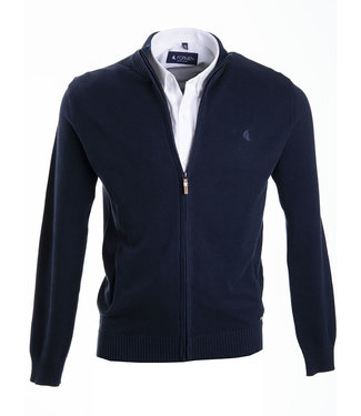donkerblauwe trui met rits