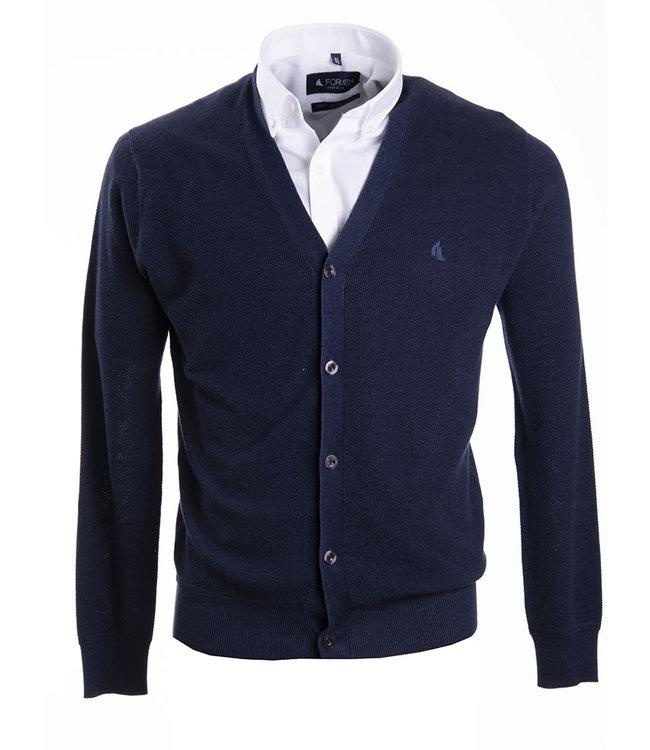 donkerblauwe trui met knopen