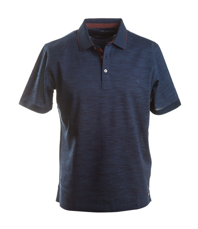 marine polo met bordeaux accent