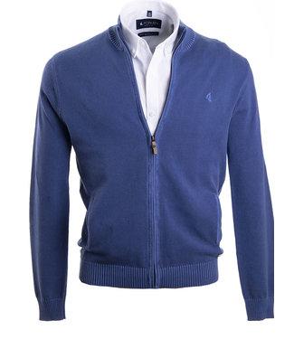 jeansblauwe sportieve trui met rits