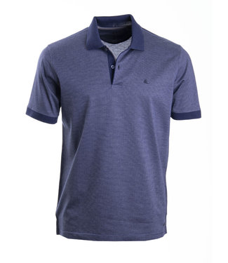 donkerblauwe polo met taupe accent