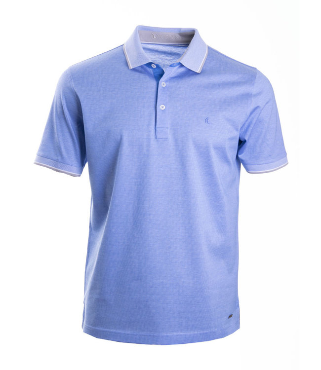 FORMEN blauwe polo met taupe accent