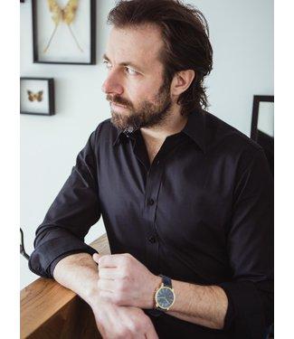 zwart hemd in poplin katoen, regular fit