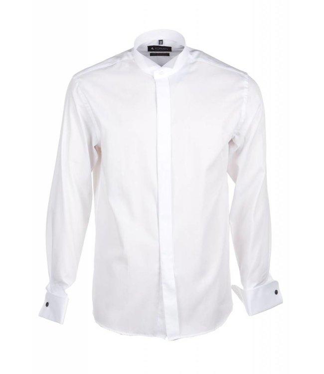 wit smokinghemd met col cassé, slim fit