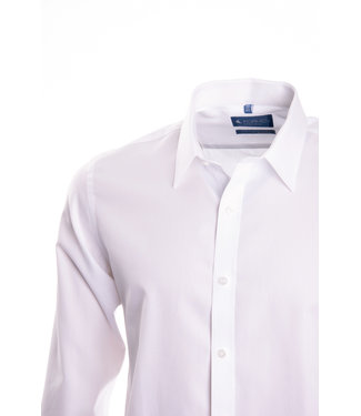 FORMEN wit hemd in poplin katoen, slim fit