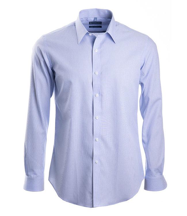 FORMEN lichtblauw gestreept hemd, slim fit