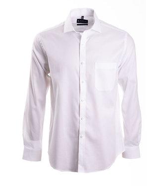 FORMEN Effen wit hemd met herringbone