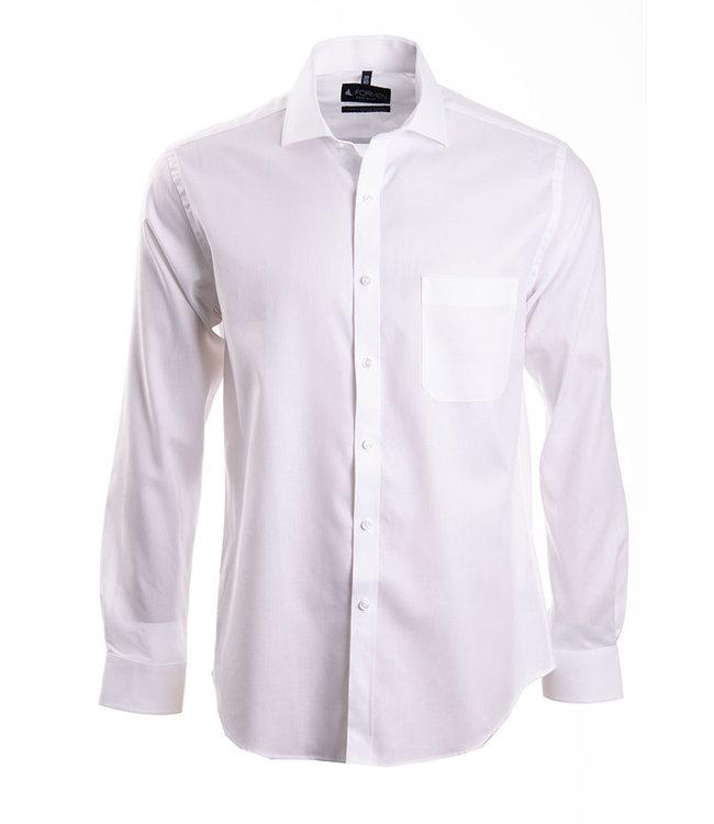effen wit hemd met herringbone weving
