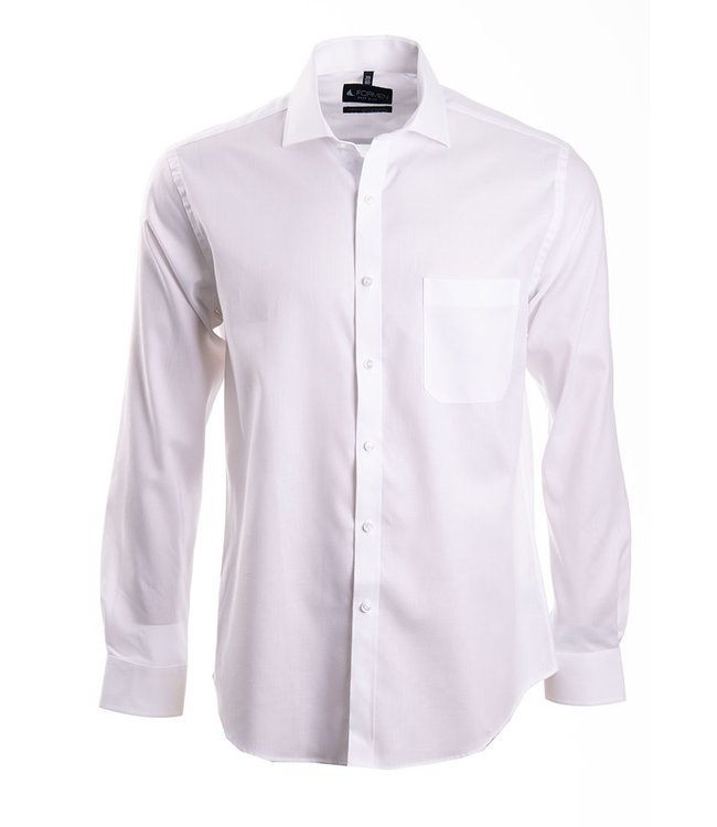 FORMEN effen wit hemd met herringbone weving