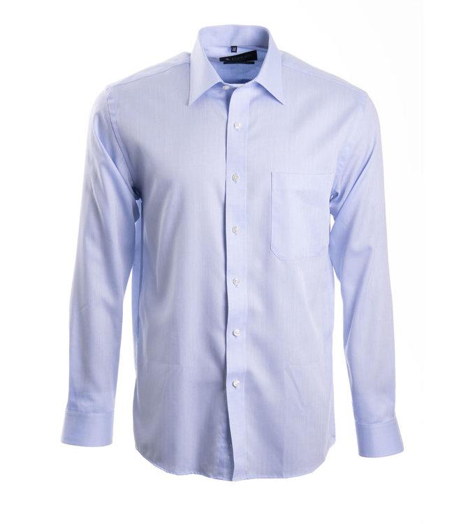 lichtblauw hemd met herringbone weving