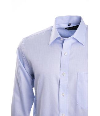 FORMEN Lichtblauw hemd met herringbone weving