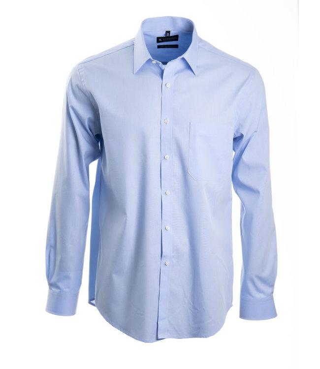 lichtblauw hemd in poplin katoen, regular fit