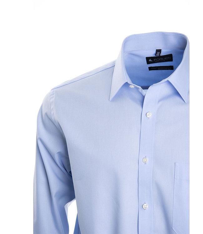 FORMEN lichtblauw hemd in poplin katoen, regular fit