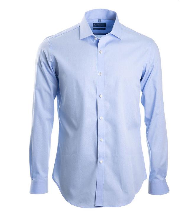 lichtblauw hemd in poplin katoen, slim fit
