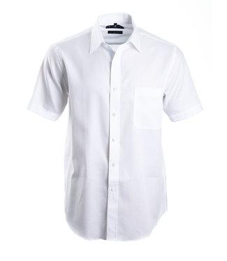 FORMEN wit herringbone hemd met korte mouwen