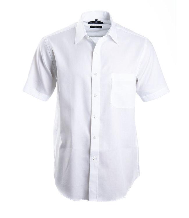 FORMEN Wit herringbone hemd met korte mouwen - Regular fit