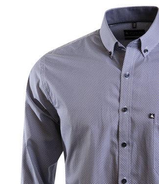 FORMEN donkerblauw hemd, all over print