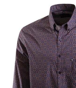 FORMEN bordeaux hemd met jeansblauw accent