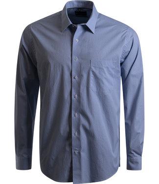 FORMEN blauw hemd met microprint