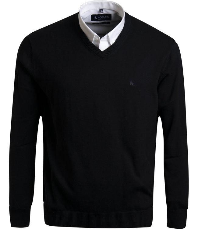v-hals trui in katoen, zwart
