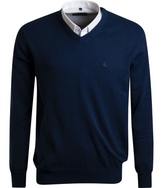 FORMEN v-hals trui in katoen, donkerblauw