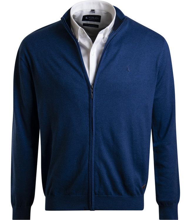 blauwe trui met rits en opstaande kraag