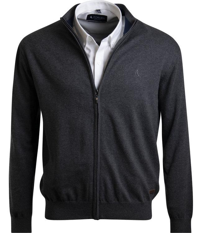 grijze trui met rits en opstaande kraag