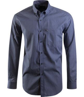 blauw hemd met retro motief